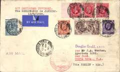 (GB External) London to Costa Rica, bs 5/5, GB acceptance for German South Atlantic service, flight L75 to Rio de Janeiro 17/4, via Berlin, airmail etiquette cover, 19x11cm,  franked 1/6d plus 2/6 seahorse, red 'Europa-Sudamerika' flight confirmation cachet.. Carried by 'Tornado'. See Graue and Duggan, p156. Few light stains along rh edge, see scan.