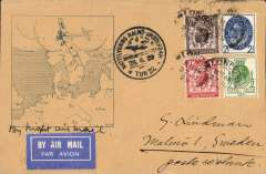 (GB External) GB acceptance for Sweden, carried on the return of the F/F ABA Malmo-Amsterdam night flight, airmail etiquette cover, franked GBUPU 1/2d, 1d, 1 1/2d and 2 1/2d canc London 27 Jun cds, black circular official flight cachet and large framed 'map' cachet..