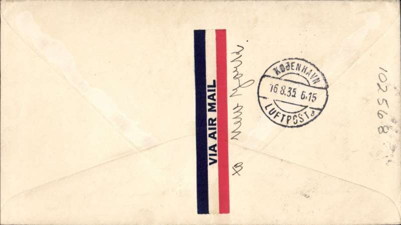 (United States) San Francisco to Denmark, San Francisco to Copenhagen, bs 16/8, airmail etiquette cover written and signed by Axel Michelson, Captain of the US ocean freighter S.S. 'Calmar' franked 11c, canc San Francisco Ferry Annex, Flown US internal air service to New York, then surface to Europe.