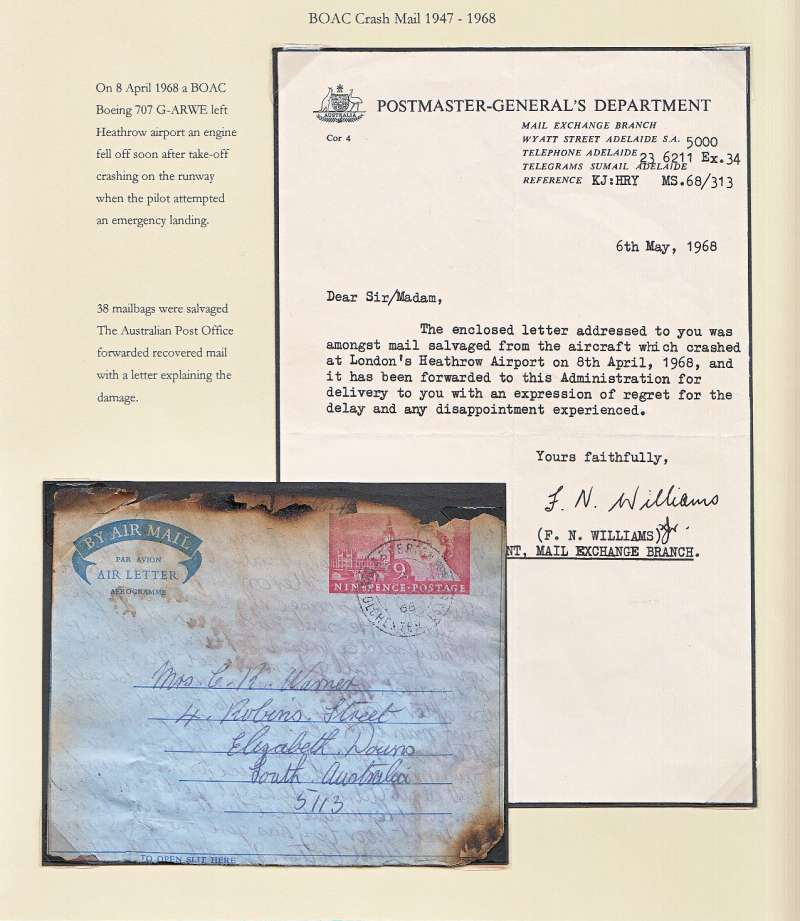 """(Recovered Interrupted Mail) Crash of BOAC Boeing 707 at Heathrow, en route from London to Australia, 9d air letter addressed to South Australia, some top edge charring. Also included is the original typewritten note, in fine condition, sent from the Postmaster-General's Department, Adelaide which says """"The enclosed letter addressed to you was amongst the salvaged mail ........................................."""". Ni680408d. Exhibit item."""