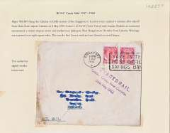 "(Recovered Interrupted Mail) BOAC COMET Jet Liner DH 106 crash near Jalalogori on the Delhi to Calcutta section of the ingaore to London route plain cover, franked 70c Malaya (Johore, Perlis) stamps, canc Singapore 1 May 1953, violet Type b cachet ""SALVAGED MAIL/Comet  Crash, Near Calcutta/2nd. MAY 1953"". Exhibit item."