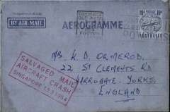 """(Recovered Interrupted Mail) BOAC, Lockheed Constellation crash at Singapore, en route from Australia to England, air letter franked 10d tied Brisbane machine cancel, fine strike red framed """"Salvaged Mail/Aircraft Crash/Singapore 13.3.1954"""" cachet, Ni 540313a."""