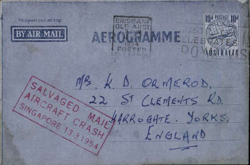 "(Recovered Interrupted Mail) BOAC, Lockheed Constellation crash at Singapore, en route from Australia to England, air letter franked 10d tied Brisbane machine cancel, fine strike red framed ""Salvaged Mail/Aircraft Crash/Singapore 13.3.1954"" cachet, Ni 540313a."