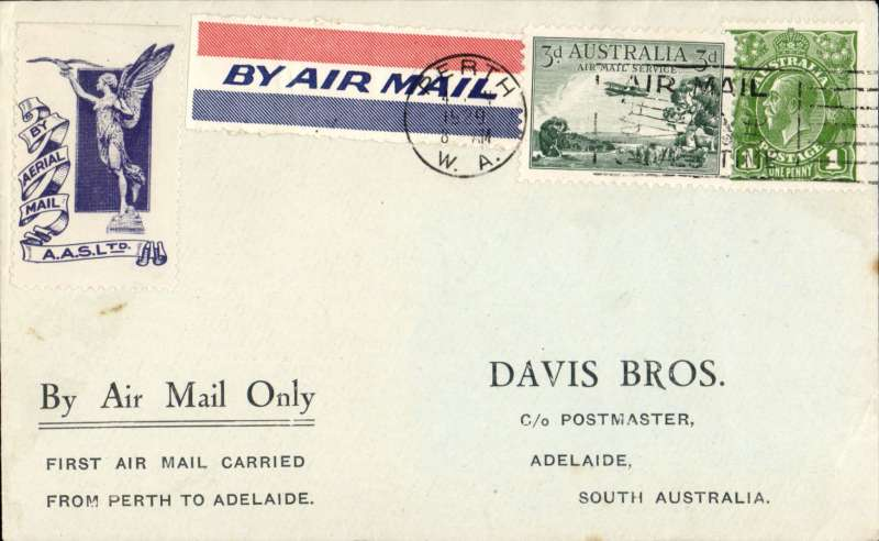 (Australia) Western Australian AW F/F Perth to Adelaide, leg of Australian internal air mail service, Davis Bros blue/pale grey souvenir cover, franked 4d, blue/white 'Winged Messenger' vignette on front and  red/white/blue etiquette 'Earliest Delivery' vignette verso. No b/s's were applied to ordinary covers at Adelaide, see Eus 136.
