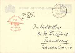 "(Netherlands East Indies) Bandoeing internal flight on pale blue/cream 5c PSC canc Bandoeing cds, printed red cachet ""Ned Indie-Hollande/Per/Luchtpost/10-12-Dagen""."