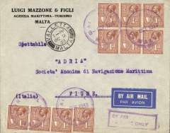 "(Malta) Malta to Fiume, bs 11/10, airmail etiquette cover franked 10d canc Airmail/Malta cds and Valletta/Malta cds, ""By Air.To Rome Only,purple 'By i/To Rome \only' Jusqua. In January 1924, the Kingdom of Italy and the Kingdom of Serbs, Croats and Slovenes signed the Treaty of Rome (27 January 1924), agreeing to the annexation of Fiume by Italy.   With the Paris Peace Treaty of 1947, After WWII, Fiume was absorbed into Yugoslavia as Rijeka (now part of Croatia). Interesting."