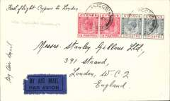 """(Cyprus) First despatch of mail from Cyprus, Nicosia to London, franked 2 1/2 pi, airmail etiquette cover, franked 3 1/2p, ms """"First flight Cyprus to England"""", black/dark blue etiquette, Imperial Airways. 75 flown."""