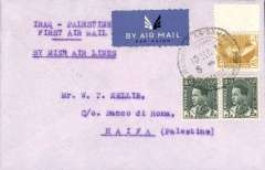 (Iraq) MISR Cairo–Cyprus–Haifa–Baghdad service, F/F Baghdad to Haifa, bs, Imperial Bank of Persia cover franked 20fls, typed 'Iraq-Palestine/First Air Mail/By MISR Air Lines'. Scarce.