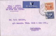 (Iraq) MISR Cairo–Cyprus–Haifa–Baghdad service, F/F Baghdad to Port Said, bs 11/12, Imperial Bank of Persia cover franked 22fls, typed 'Iraq-Palestine/First Air Mail/By MISR Air Lines'. Scarce.