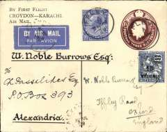 "(GB External) London to Egypt, bs Alexandrie/Par Avion/3 Ap 29, flown on the first outward leg of the Imperial Airways inaugural service to India, a printed ""By First Flight/Croydon-Karachi/Air Mail""  1 1/2d PSE with an additional 2 1/2d stamp, canc Ifley 28 Mar 29, also a 1925 French PO in Egypt  50-millieme overprint stamp with bars obscuring the 50-centime value for Alexandrie, canc Alexandrie 5 Avril 29 cds, and another cancelling the airmail etiquette suggesting return by surface.The two French post offices in Egypt  (Alexandria and Port Said) were maintained by France during the 19th and early 20th century to facilitate commercial and trading interests between France and points east. An uncommon item in fine condition, and a 'must' for the exhibit.