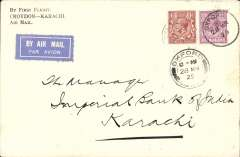 "(GB External) Imperial Airways England-India service, London to Karachi, bs 6/4, carried on F/F Croydon-Karachi, scarcer printed ""By First Flight/Croydon-Karachi/Air Mail"" corner cover, franked 7 1/2d, canc Oxford 28 Mar 29, airmail etiquette."