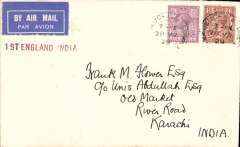 (GB External) Imperial Airways England-India service, London to Karachi, bs 6/4, carried on F/F Croydon-Karachi, airmail etiquette cover, franked 7 1/2d, nice strike red straight line '1st England-India' flight cachet.