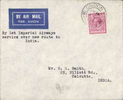 "(GB External) First acceptance of mail for Calcutta, bs 11/10, carried on Imperial Airways, alternative route through Trucial States, London to Karachi, imprint airmail etiquette cover franked 6d, canc London/Air Mail/1 Oct 32 cds, typed ""By First Imperial Airways/service over new route to/India""Per First Indian Air Mail/Via Bahrain"". Signed by Stephen Smith, Francis Field authentication hs verso."