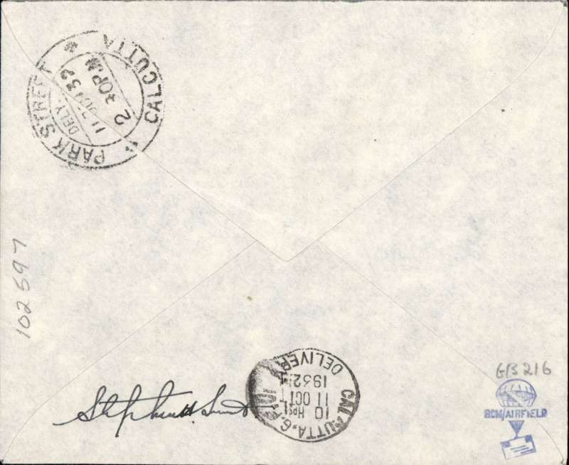 """(GB External) First acceptance of mail for Calcutta, bs 11/10, carried on Imperial Airways, alternative route through Trucial States, London to Karachi, imprint airmail etiquette cover franked 6d, canc London/Air Mail/1 Oct 32 cds, typed """"By First Imperial Airways/service over new route to/India""""Per First Indian Air Mail/Via Bahrain"""". Signed by Stephen Smith, Francis Field authentication hs verso."""