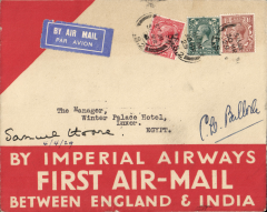 (GB External) Imperial Airways first regular flight to India, London to Alexandria, bs 3/4 and on to The Winter Palace Hotel, Luxor 4/10, red/cream souvenir cover franked 5d + 1 1/2d airmail surcharge, signed by the Secretary of State for Air Sir Samuel Hoare, and his Private Secretary Sir Christopher Bullock. One of only three covers carried from London to Alexandria, see Newall, p293. A rare item in fine condition,