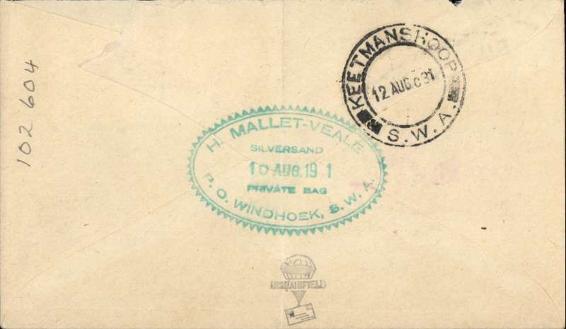 (South West Africa) SWA Airways first provisional internal service, Windhoek to Keetmanshoop, bs 12/8, airmail etiquette cover, franked 2d 'Official' bilingual opt, canc Widhoek cds and small metal die Lugpos/Air Mail. Ironed vertical crease.