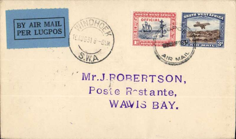 (South West Africa) SWA Airways first provisional internal service, Windhoek to Walvis Bay, bs 11/8 plain cover, franked 4d canc Windhoek cds and special Lugpos Airmail cachet. Francis Field authentication hs.