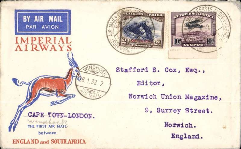 (Recovered Interrupted Mail) SWA Airways Windhoek to Kimberley, connecting with the first Imperial Airways Cape Town to Croydon service, Springbok cover franked 4d, canc  'Windhoek-Kimberley/ First Air Mail/26.1.32' also small metal die 'Air Mail' ds applied at Windhoek., The 'City of Basra' was damaged at take off at Salisbury and mail was transferred to 'City of Delhi', which then had to make an emergency landing due to bad weather near Broken Hill. Mail was then transferred to City of Baghdad, and arrived in London 9 days later than scheduled, ref Ni 320129 and 320129B.