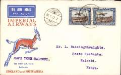 (Recovered Interrupted Mail) Windhoek to Nairobi, 7/2, interrupted first flight, SWA Airways Windhoek-Kimberley, connecting with the first Imperial Airways Cape Town to Croydon service, Springbok cover franked 4d, canc  'Windhoek-Kimberley/ First Air Mail/26.1.32' also small metal die 'Air Mail' ds applied at Windhoek. The 'City of Basra' was damaged at take off at Salisbury and mail was transferred to the 'City of Delhi', which then had to make an emergency landing due to bad weather near Broken Hill. Mail was then transferred to City of Baghdad, and arrived in Nairobi four days later than scheduled, ref Ni 320129 and 320129B.