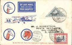 (South West Africa) SWA to Southern Rhodesia, Windhoek to Salisbury bs 28/1, SWA Airways Windhoek-Kimberley, connecting with the first Imperial Airways Cape Town to Croydon service, scarcer Robertson cover cover franked 4d, canc  'Windhoek-Kimberley/ First Air Mail' cachet, also small metal die 'Air Mail' dsapplied at Windhoek.