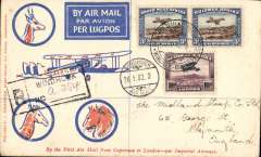 (Recovered Interrupted Mail) Windhoek to England, no arrival ds, interrupted first flight, SWA Airways Windhoek-Kimberley, connecting with the first Imperial Airways Cape Town to Croydon service, scarcer Robertson cover franked 3d air bil pair and 10d air, canc  'Windhoek-Kimberley/ First Air Mail/26.1.32' also small metal die 'Air Mail' ds applied at Windhoek. The 'City of Basra' was damaged at take off at Salisbury and mail was transferred to the 'City of Delhi', which then had to make an emergency landing due to bad weather near Broken Hill. Mail was then transferred to City of Baghdad, and arrived in Nairobi four days later than scheduled, ref Ni 320129 and 320129B.