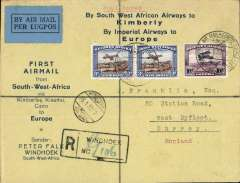 (Recovered Interrupted Mail) SWA to Europe, Windhoek to England, no arrival ds, interrupted first flight, SWA Airways Windhoek-Kimberley, connecting with the first Imperial Airways Cape Town to Croydon service, uncommon reg (hs) Peter Falk corner cover franked 3d air bil pair and 10d air, canc  'Windhoek-Kimberley/ First Air Mail/26.1.32' also small metal die 'Air Mail' ds applied at Windhoek and blue/orange Peter Falk vignette verso.. The 'City of Basra' was damaged at take off at Salisbury and mail was transferred to the 'City of Delhi', which then had to make an emergency landing due to bad weather near Broken Hill. Mail was then transferred to City of Baghdad, and arrived in Nairobi four days later than scheduled, ref Ni 320129 and 320129B. An attractive and unusual item.