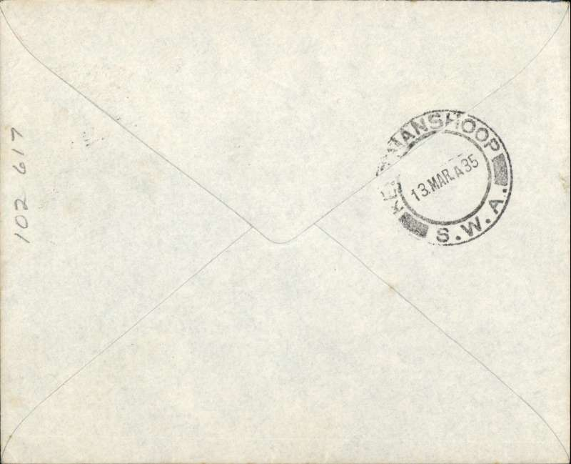 (South West Africa) First carriage of internal mails by South African Airways from Windhoek to Keetmanshoop, bs 13/3, imprint etiquette airmail cover franked 1 1/2d canc small metal die 'Windhoek/Lugpos ds. Uncommon, ref Stern 98.