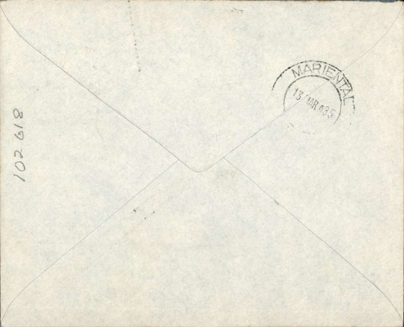 (South West Africa) First carriage of internal mails by South African Airways from Windhoek to Marienthal, bs 13/3, imprint etiquette airmail cover franked 1 1/2d canc small metal die 'Windhoek/Lugpos ds. Uncommon, ref Stern 98.