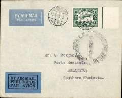 (South West Africa) F/F South African Airways, Windhoek to Bulawayo, bs 16/3, imprint etiquette airmail cover franked 1 1/2d canc small metal die 'Windhoek/Lugpos ds, SA Airways to Kimberley, then Imperial AW to Bulawayo.  Uncommon, ref Stern 98.