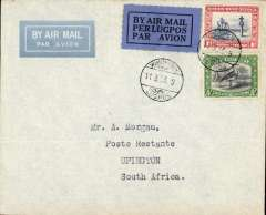 (South West Africa) F/F South African Airways, Windhoek to Kimberley, bs 14/3, imprint etiquette airmail cover franked 1 1/2d canc small metal die 'Windhoek/Lugpos ds. Uncommon, ref Stern 98.