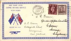 """(New Zealand) """"First Flight Cover/Empire Air Mail Mail Service/From Sydney"""", attractive red/white/blue 'Twin Flags' souvenir cover to England, 20 Aug 38 arrival ds on front, franked 1 1/2d NZ stamp canc Wanganui cds, and GB 1/2d for surface return to NZ."""