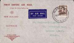 """(New Zealand) Stage 3 EAMS, """"First Empire Air Mail"""" uncommon and attractive grey/red printed souvenir cover to England, franked 1 1/2d."""