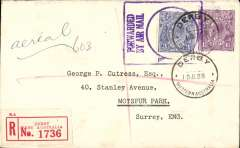 (Australia) PMG cachet, in violet, on registered (label) air cover to England, bs 20.8, via Perth 19/7, franked 4 1/2d, canc Derby cds, ms 'Aerial'.