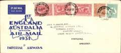 (Australia) Return 1st Experimental England-Australia flight, Darwin to London, bs 15/5 (bs applied to registered mail only, blue/cream souvenir cover, 22x10cm, franked 1/11d, Qantas/Imperial Airways.