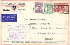 "(Australia) Sydney to London, flown on return of first experimental flight England-Australia, franked 1/11d, no arrival ds (applied to registered mail only, see Eus 188), violet souvenir cachet, printed ""All The Way"" cover with IAW winged logo and route details, Qantas/Imperial Airways."