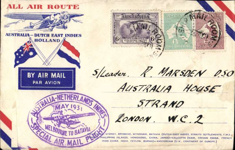 (Australia) KLM return flight Sydney to London, via Holland, special oval Melbourne to Batavia violet cachet, high 3/6d franking inc 1913 9d,1/-&2/-, canc Melbourne cds, red/white/blue printed souvenir cover with crossed flags and Fokker.