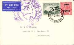 (Australia) F/F Melbourne to Hobart, bs 2/5, violet circular cachet, b/s, plain cover franked 4 1/2d, ANA