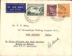 (Australia) WR Carpenter Airlnes, first official airmail service Australia to Papua, Sydney to Rabaul, airmail etiquette cover franked Australia 5d canc Sydney 30/5, signed by the pilot R.O.Mant.