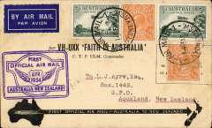 "(Australia) ""Faith in Australia"", first official airmail Australia-New Zealand, bs Auckland 12/4, official black/cream 'VH-UXX Faith in Australia' souvenir cover franked 6 1/2d, fine strike violet winged ""First Official Air Mail/ Australia-New Zealand"" cachet."
