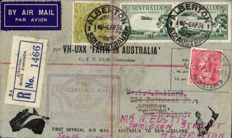 """(Australia) """"Faith in Australia"""", first official airmail Australia-New Zealand, bs Christchurch, 12/4, registered (label) official black/grey 'VH-UXX Faith in Australia' souvenir cover franked 11d, canc Alberton cds and Melbourne cds, violet winged """"First Official Air Mail/ Australia-New Zealand"""" and """"Trans Tasman/New Zealand-Austalia"""" cachets."""