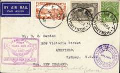 """(Australia) """"Faith in Australia"""", first official airmail Australia-New Zealand, and return, bs Auckland 12/4, airmail etiquette cover correctly rated 7d, canc Melbourne cds, then New Zealand 7d stamp applied and cancelled Kaitaia 14/4, returned to Sydney 14/4, fine strikes violet winged """"First Official Air Mail"""" Australia-NZ, and circular NZ-Australia cachets."""