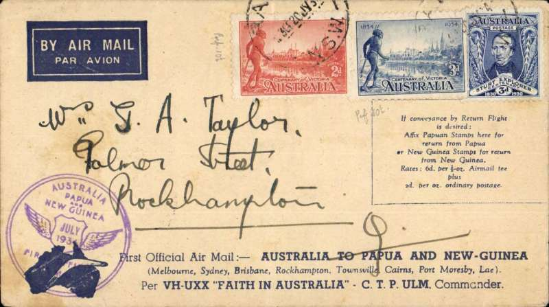 """(Australia) Brisbane to Rockhampton, bs 25/7, scarce cover flown on intermediate leg of PNG-Australia 'Faith in Australia' flight, official cover franked 8d canc Brisbane cds, printed 'First Official Air Mail/Australia to Papua and New Guinea', violet 'Australia/Papua and New Guinea' flight cachet' and typed """"First Official Air Mail Papua & New Guinea to Australia/per Faith in Australia- CTP Ulm Commander"""". Ironed vertical crease."""