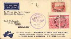 """(Australia) F/F Brisbane to Cairns, bs 26/7, stage of the Ausralia to Papua/New Guinea flight by Ulm in """"Faith of Australia"""", souvenir cover franked 5d.."""