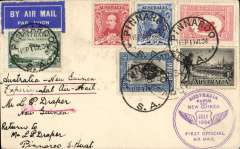 """(Australia) (Pinnaroo)Melbourne to Port Moresby, 26/7 arrival ds on front tying Papua 3d for return flight, flown  Australia to New Guinea by Ulm in """"Faith of Australia"""", plain cover franked Australia 1/- Centenary, 3d and 2x 1 1/2d, also Papua 3d, ms 'Australia-New Guinea Experimental Air  Mail',  Australia/Paua and New Guinea flight cachet.."""