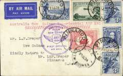 "(Australia) (Pinnaroo)Melbourne to Lae, b/s 27/7, and return, flown by Ulm in ""Faith of Australia"", plain cover franked 1/3d, typed ""Australia New Guinea Experimental Air Mail', ""Australia/Papua and New Guinea"" flight cachet.on front and ""New Guinea/Australia"" flight cachet verso."