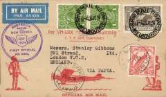"""(Australia) F/F Melbourne to Lae, bs 27/7, red/buff souvenir cover franked Australia 8d canc Melbourne Ship Mail Room cds, and New Guinea 1932 """"Bird of Paradise"""" stamp franked Lae Jul 30 cds, purple circular """"Papua and New Guinea 1934 Official Air Mail"""" cachet, par avion etiquette."""