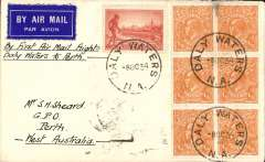 (Australia) MacRobertson Miller Aviation Co, F/F Daly Waters-Perth, bs 12/10, airmal etiquette cover franked 5d.