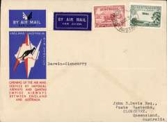 (Australia) Darwin to Cloncurry leg of the first regular England-Australia service, bs 20/12, special envelope franked 5d, Qantas Airways.