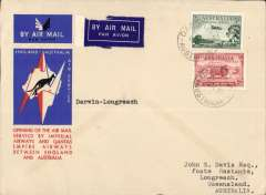 (Australia) Darwin to Longreach leg of the first regular England-Australia  service, bs 21/12, special envelope franked 5d, Qantas Airways.