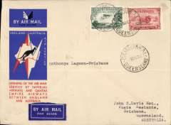(Australia) Camooweal to Brisbane leg of the first regular England-Australia  service, bs 21/12, special envelope franked 5d, Qantas Airways.